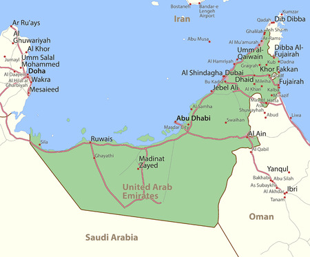 Map of United Arab Emirates. Shows country borders, urban areas, place names and roads. Labels in English where possible.