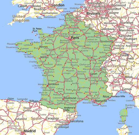 Map of France. Shows country borders, urban areas, place names and roads.