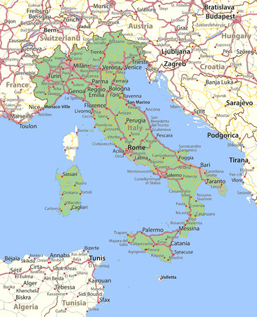 Map of Italy. Shows country borders, urban areas, place names and roads. Labels in English where possible.