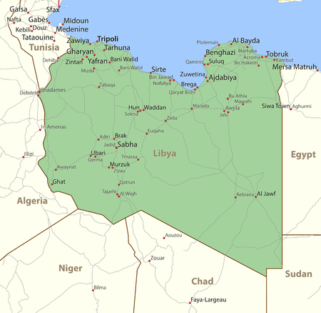 Map of Libya. Shows country borders, place names and roads. Labels in English where possible. Ilustração