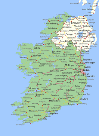 Map of Ireland. Shows country borders, urban areas, place names and roads. Labels in English where possible. Illustration