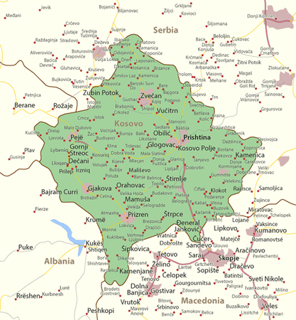 Map of Kosovo. Shows country borders, urban areas, place names and roads. Labels in English where possible. Ilustração