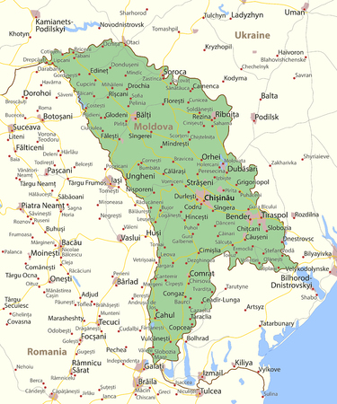 Map of Moldova. Shows country borders, urban areas, place names and roads. Labels in English where possible.