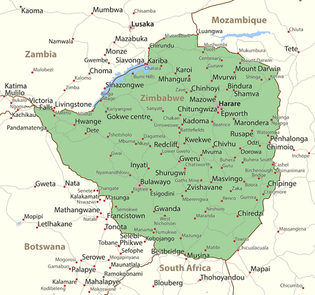 Map of Zimbabwe. Shows country borders, urban areas, place names and roads. Labels in English where possible. Ilustração