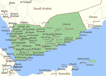 Map of Yemen. Shows country borders, place names and roads. Labels in English where possible.