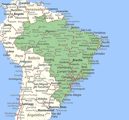 Map of Brazil. Shows country borders, urban areas, place names and roads. Labels in English where possible. Imagens - 95808484