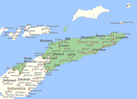 Map of Timor-Leste. Shows country borders, urban areas, place names and roads. Labels in English where possible. Ilustração