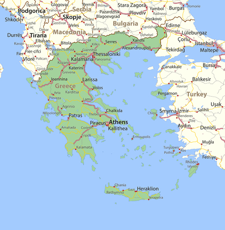 Map of Greece. Shows country borders, urban areas, place names and roads. Labels in English where possible. Imagens - 95808486
