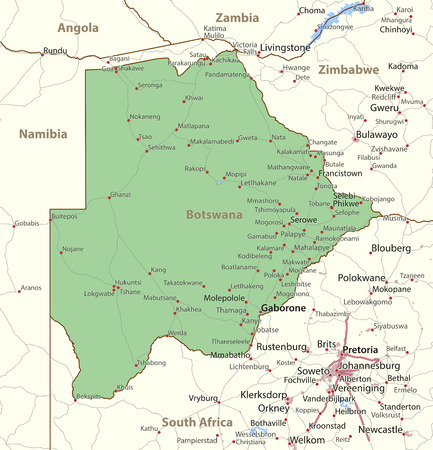 Map of Botswana. Shows country borders, urban areas, place names and roads. Labels in English where possible.