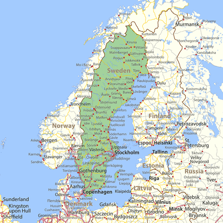 Map of Sweden. Shows country borders, urban areas, place names and roads. Labels in English where possible.