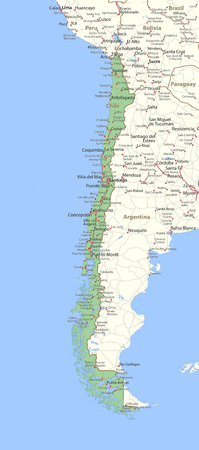 Map of Chile. Shows country borders, place names and roads. Labels in English where possible. Ilustração