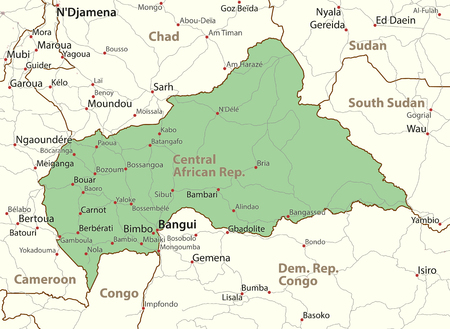 Map of Central African Rep. Shows country borders, urban areas, place names and roads. Labels in English where possible. Ilustração