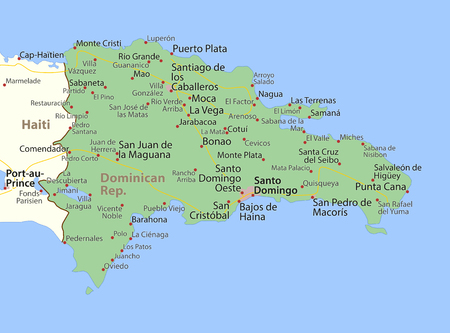 Map of Dominican Republic. Shows country borders, urban areas, place names and roads. Labels in English where possible.