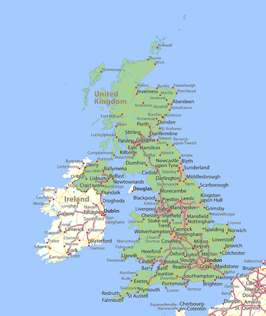 Map of the United Kingdom. Shows country borders, urban areas, place names and roads. Labels in English where possible.