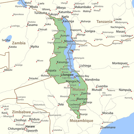 Map of Malawi. Shows country borders, place names and roads. Labels in English where possible.