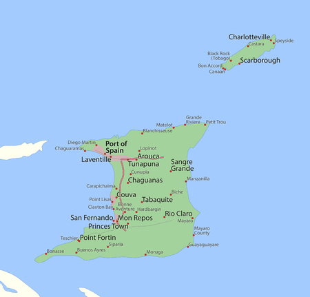 Map of Trinidad and Tobago. Shows country borders, urban areas, place names and roads. Labels in English where possible.