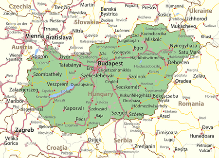 Map of Hungary. Shows country borders, urban areas, place names and roads. Labels in English where possible.