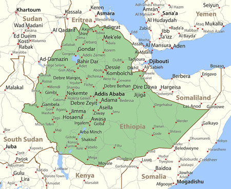 Map of Ethiopia. Shows country borders, urban areas, place names and roads. Labels in English where possible.