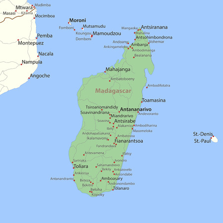 Map of Madagascar. Shows country borders, place names and roads. Labels in English where possible.