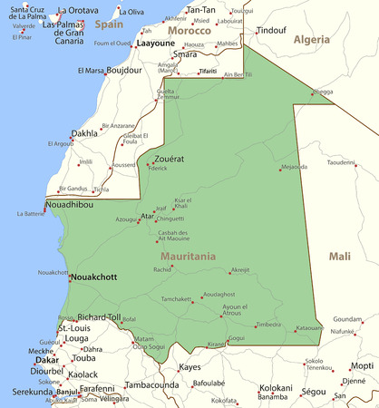 Map of Mauritania. Shows country borders, place names and roads. Labels in English where possible.