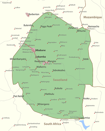 Map of Swaziland. Shows country borders, urban areas, place names and roads. Labels in English where possible. Ilustração