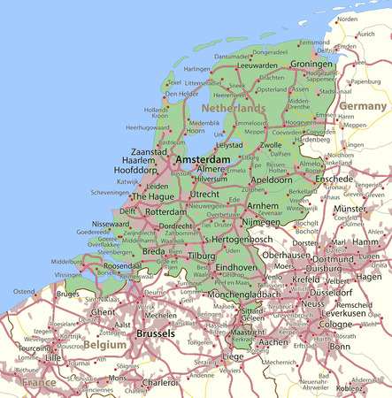 Map of Netherlands. Shows country borders, urban areas, place names and roads. Labels in English where possible. Illustration