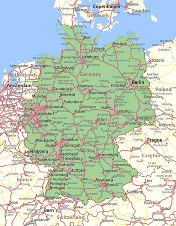 Map of Germany. Shows country borders, urban areas, place names and roads. Labels in English where possible. Imagens - 95808543