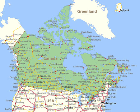 Map of Canada. Shows country borders, place names and roads. Labels in English where possible.