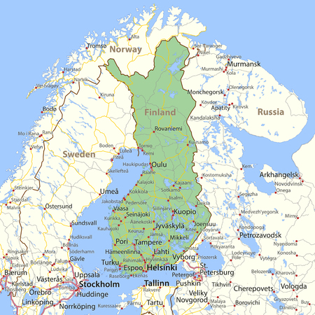Map of Finland. Shows country borders, urban areas, place names and roads. Labels in English where possible. Ilustração