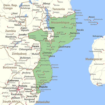 Map of Mozambique. Shows country borders, urban areas, place names and roads. Labels in English where possible.
