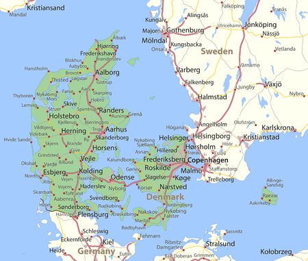 Map of Denmark. Shows country borders, urban areas, place names and roads. Labels in English where possible. Ilustração
