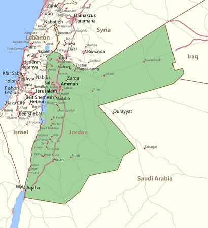 Map of Jordan. Shows country borders, urban areas, place names and roads. Labels in English where possible.
