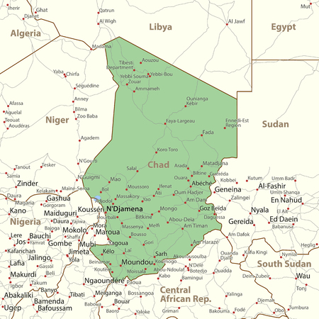 Map of Chad. Shows country borders, urban areas, place names and roads. Labels in English where possible. Imagens - 95808631
