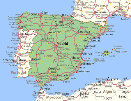 Map of Spain. Shows country borders, urban areas, place names and roads. Labels in English where possible.
