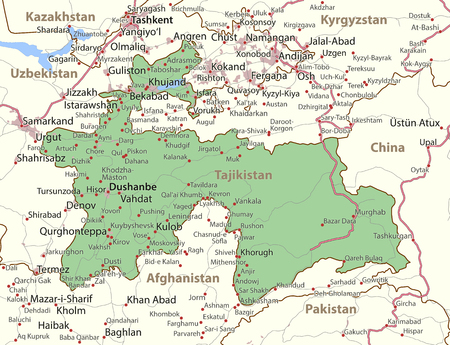 Map of Tajikistan. Shows country borders, urban areas, place names and roads. Labels in English where possible. Ilustração