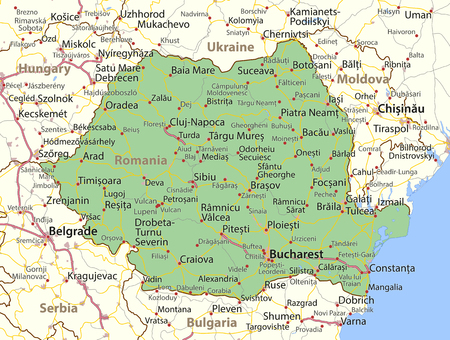 Map of Romania. Shows country borders, urban areas, place names and roads. Labels in English where possible.