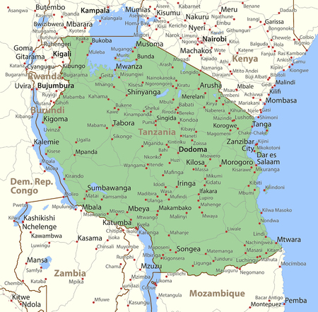 Map of Tanzania. Shows country borders, urban areas, place names and roads. Labels in English where possible.