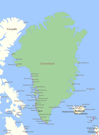 Map of Greenland. Shows country borders, urban areas, place names and roads. Labels in English where possible.