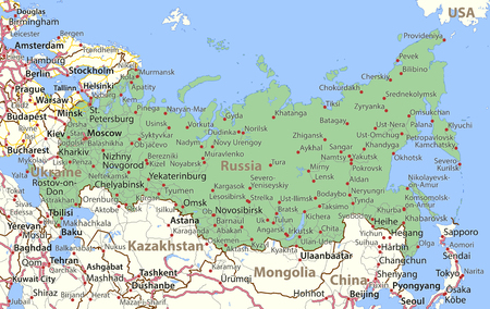 Map of Russia. Shows country borders, place names and roads. Labels in English where possible. Illustration