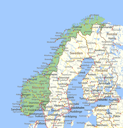 Map Of Norway Shows Country Borders Urban Areas Place Names