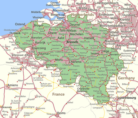 Map of Belgium. Shows country borders, urban areas, place names and roads. Labels in English where possible.