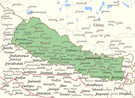 Map of Nepal. Shows country borders, urban areas, place names and roads. Labels in English where possible.