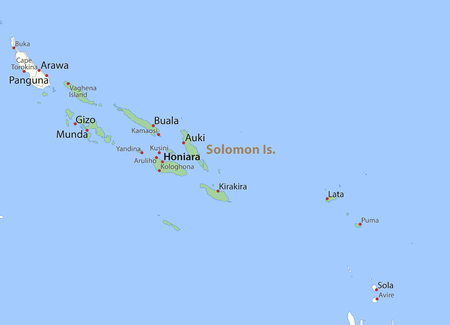 Map of Solomon Islands. Shows country borders, urban areas, place names and roads. Labels in English where possible. Ilustração