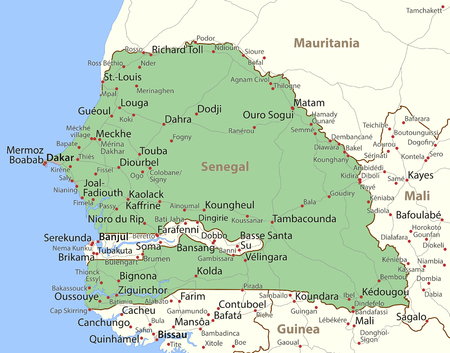 Map of Senegal. Shows country borders, urban areas, place names and roads. Labels in English where possible.