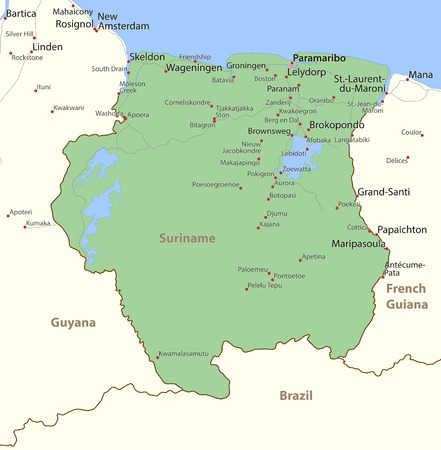 Map of Suriname. Shows country borders, urban areas, place names and roads. Labels in English where possible. Фото со стока - 95808733