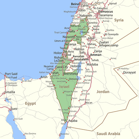 Map of Israel. Shows country borders, urban areas, place names and roads. Labels in English where possible.