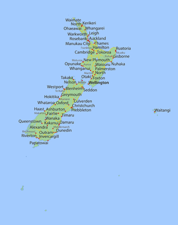 Map of New Zealand. Shows country borders, urban areas, place names and roads. Labels in English where possible. Ilustração