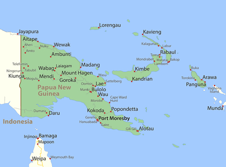 Map of Papua New Guinea. Shows country borders, urban areas, place names and roads. Labels in English where possible.