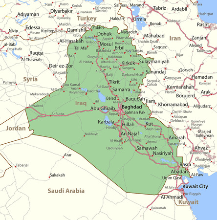 Map of Iraq. Shows country borders, urban areas, place names and roads. Labels in English where possible.