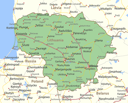 Map of Lithuania. Shows country borders, urban areas, place names and roads.